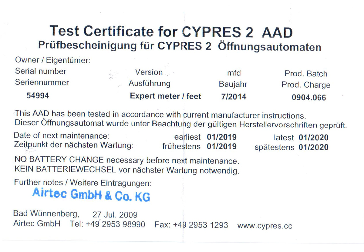Certificate for CYPRES